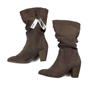 Sonoma Sketch WIDE CALF Suede Slouch Boots Tan NEW